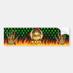 Marque el fuego real del cráneo y flamea el DES de Pegatina De Parachoque