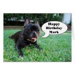 Marque la tarjeta del dogo francés del feliz cumpl