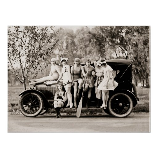Marque Sennett que baña el vintage de las bellezas Poster