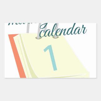 Marque su calendario pegatina rectangular