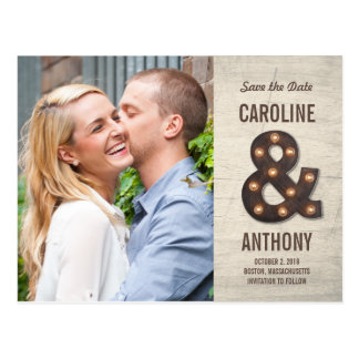 Marquee Ampersand Photo Save The Date Postcard