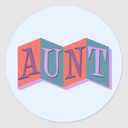 Round Sticker with Marquee Aunt design