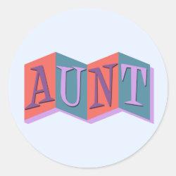 Round Sticker with Marquee Aunt design