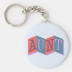 Basic Button Keychain with Marquee Aunt design