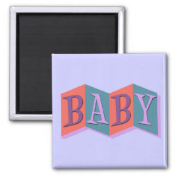 Square Magnet with Marquee Baby design