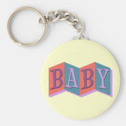 Basic Button Keychain with Marquee Baby design
