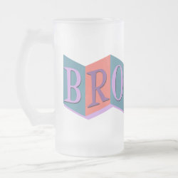 Frosted Glass Mug with Retro Marquee Brother design