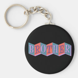 Basic Button Keychain with Retro Marquee Brother design