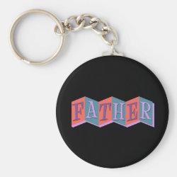 Marquee Father Basic Button Keychain