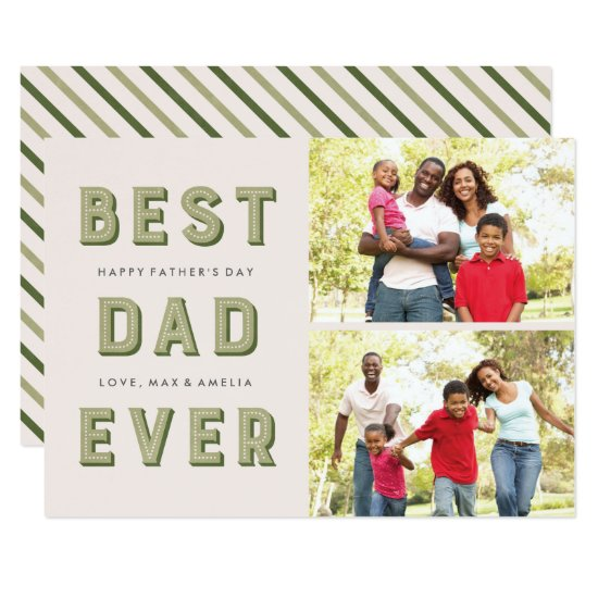 Marquee Father's Day 2-Photo Card - Moss