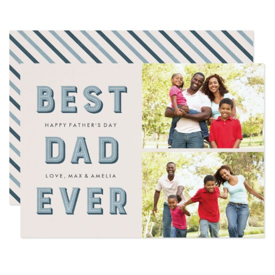 Marquee Father's Day 2-Photo Card - Navy