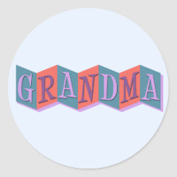 Round Sticker with Marquee Grandma design