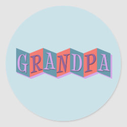 Round Sticker with Marquee Grandpa design