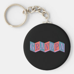 Basic Button Keychain with Marquee Grandpa design
