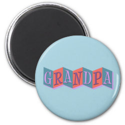 Round Magnet with Marquee Grandpa design