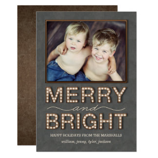 Marquee Lights Holiday Photo Card Merry and Bright