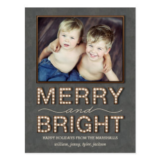 Marquee Lights Postcard Holiday Photo Card