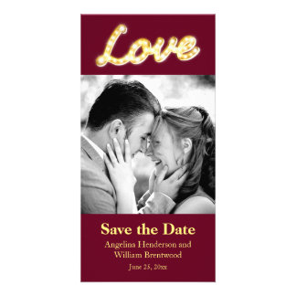 Marquee Lights Save the Date Photo Card