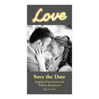 Marquee Lights Save the Date Photo Gray Burlap Card