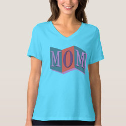 Women's Bella Relaxed Fit Jersey V-Neck T-Shirt with Marquee Mom design