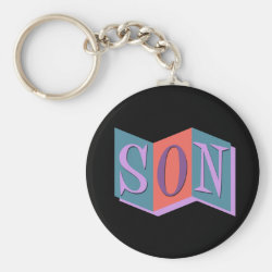 Basic Button Keychain with Marquee Son design