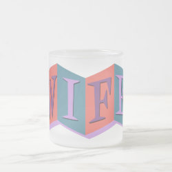 Frosted Glass Mug with Marquee Wife design