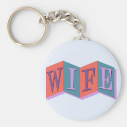 Basic Button Keychain with Marquee Wife design