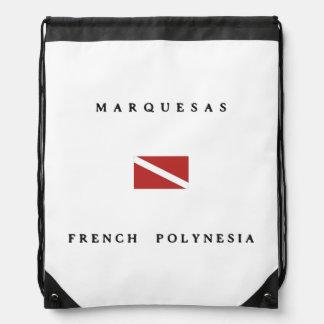 Marquesas French Polynesia Scuba Dive Flag Drawstring Bag