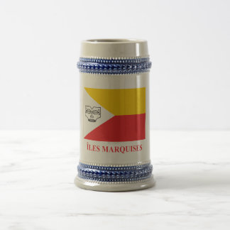 Marquesas Islands flag with name in French Beer Stein