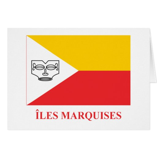 Marquesas Islands flag with name in French Cards