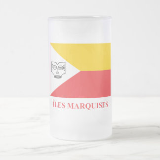 Marquesas Islands flag with name in French Frosted Glass Beer Mug
