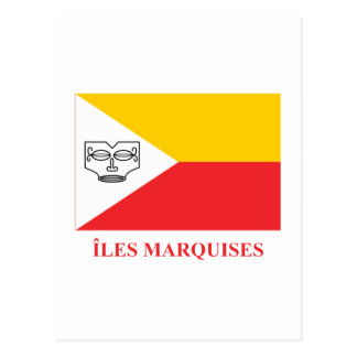 Marquesas Islands flag with name in French Postcard