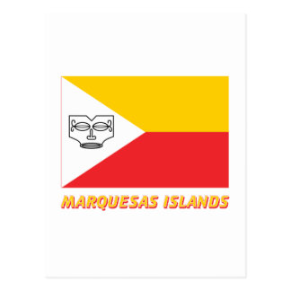Marquesas Islands flag with name Postcard