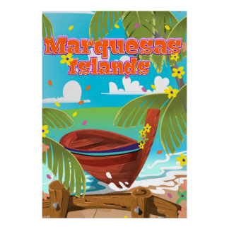 Marquesas Islands travel poster. Poster