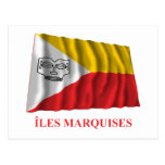 Marquesas Islands waving flag with name in French Postcard