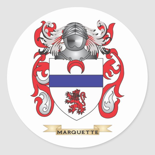 Marquette Coat of Arms (Family Crest) Classic Round Sticker