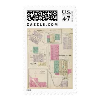 Marquette, Conway, Galva, Elyria, Ames, Kansas Postage Stamp
