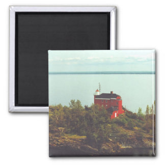 Marquette Harbor Lighthouse 2 Inch Square Magnet