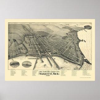Marquette, mapa panorámico del MI - 1897 Poster