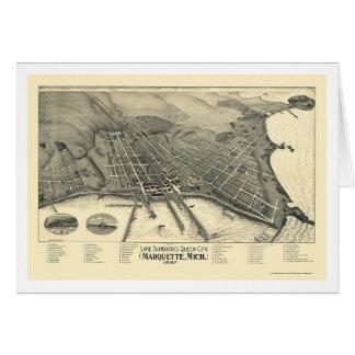 Marquette, mapa panorámico del MI - 1897 Felicitaciones