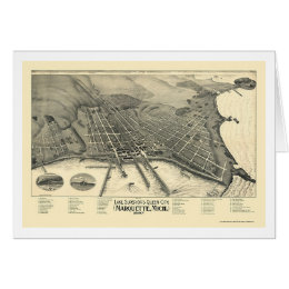 Marquette, MI Panoramic Map - 1897 Card