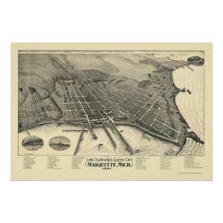 Marquette, MI Panoramic Map - 1897 Poster