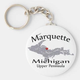 Marquette Michigan Heart Map Design Keychain