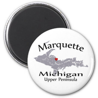 Marquette Michigan Heart Map Design Magnet