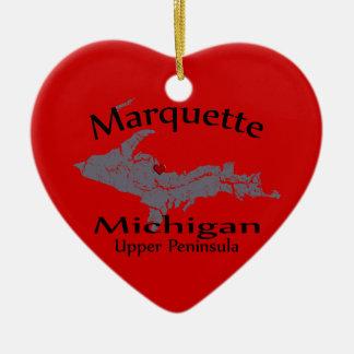 Marquette Michigan Heart Map Design Ornament