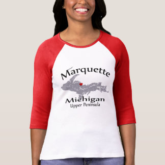 Marquette Michigan Heart Map Design Raglan Tshirt