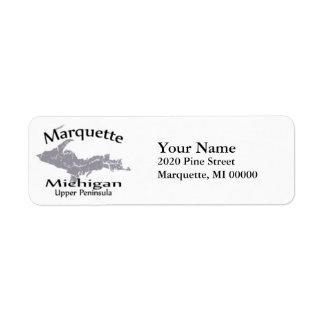 Marquette Michigan Map Design Return Address Label