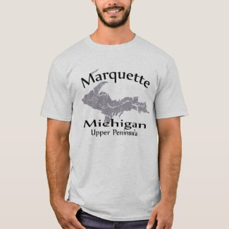 Marquette Michigan Map Design T-shirt