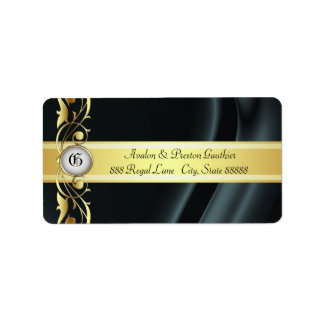 Marquis Black & Gold Silk Address Labels
