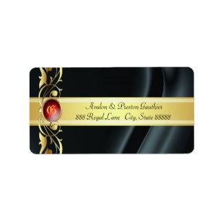 Marquis Black & Gold Silk Ruby Address Labels